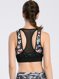 Abstract Print Mesh Paneled Gym Bra Sportswear - VS FASHIONS