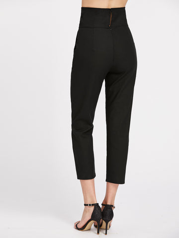 Lace Up Front Cropped Pants