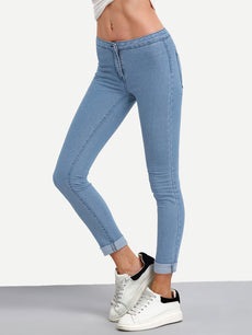 Blue Bleach Wash Roll Hem Skinny Jeans