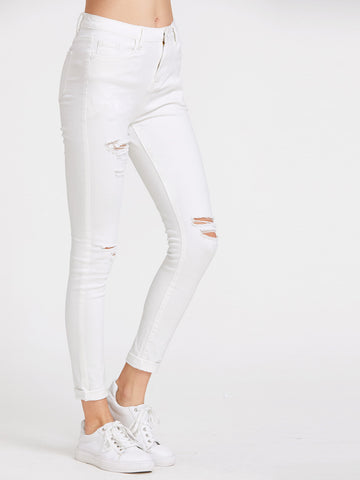 5 Pocket Ripped Skinny Jeans - VS FASHIONS