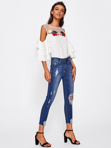 Bleach Wash Distressed Jeans - VS FASHIONS