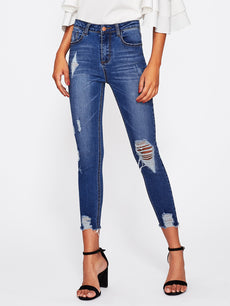 Bleach Wash Distressed Jeans