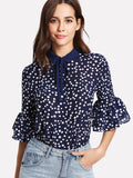 Tie Neck Ruffle Sleeve Polka Dot Blouse