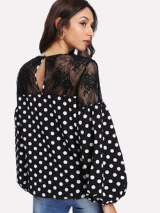 Floral Lace Shoulder Polka Dot Top
