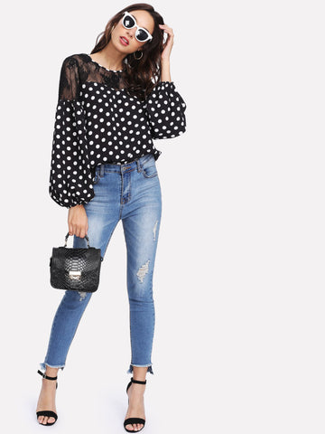 Floral Lace Shoulder Polka Dot Top - VS FASHIONS