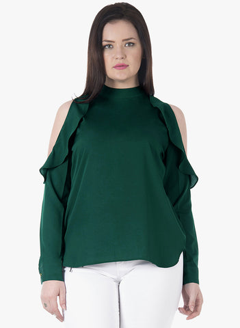 CURVE Emerald Ruffles Cold Shoulder Top