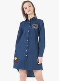 Denim Badge Shirt Dress - VS FASHIONS