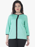 CURVE Color Blocked Top - Mint Polka - VS FASHIONS
