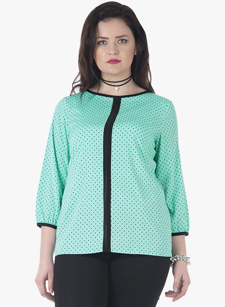 CURVE Color Blocked Top - Mint Polka