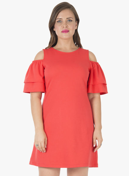 CURVE Ruffled Cold Shoulder Shift Dress - Coral
