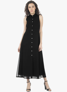 Buttoned Shirt Maxi Dress - Black