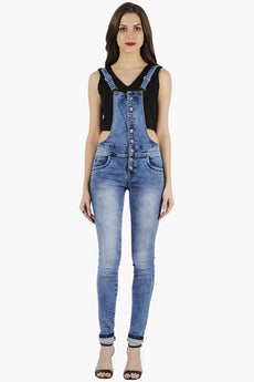 Button-Up Denim Dungarees - Light