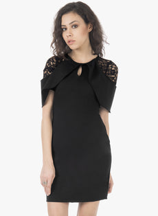 Lace Sleeve Bodycon Dress - Black