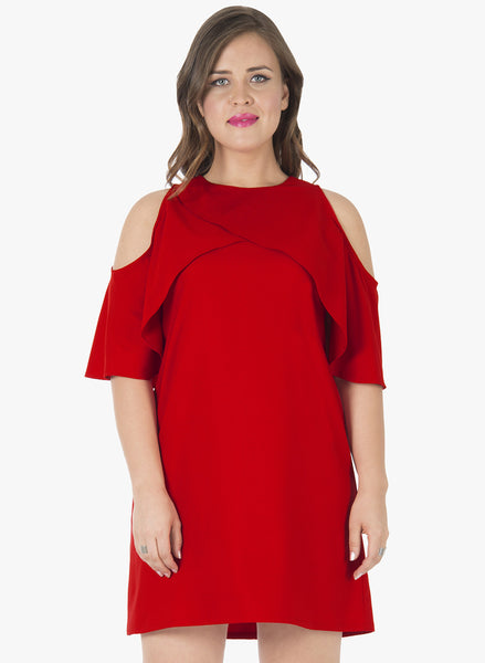 CURVE Ruffled Up A-Line Dress - Red
