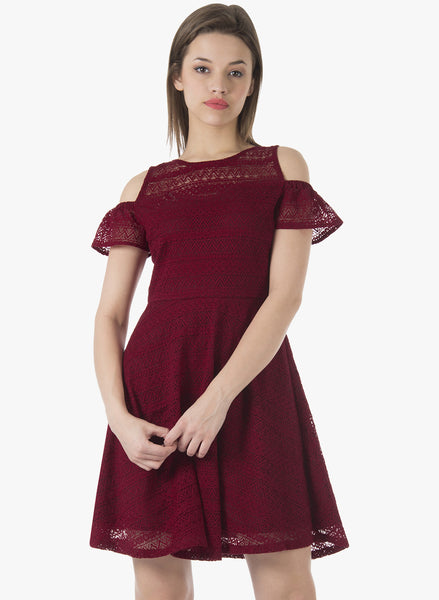 Cold Shoulder Lace Skater Dress - Maroon