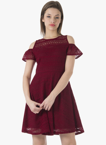 Cold Shoulder Lace Skater Dress - Maroon - VS FASHIONS