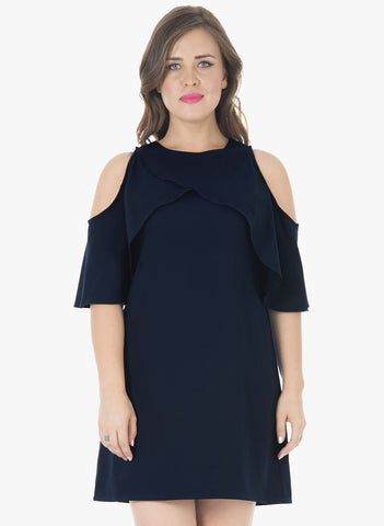 CURVE Ruffled Up A-Line Dress - Navy