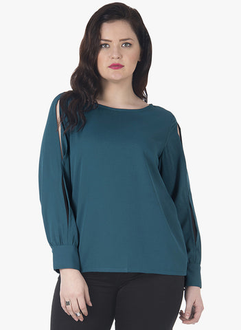 CURVE Split Sleeve Top - Teal - VS FASHIONS