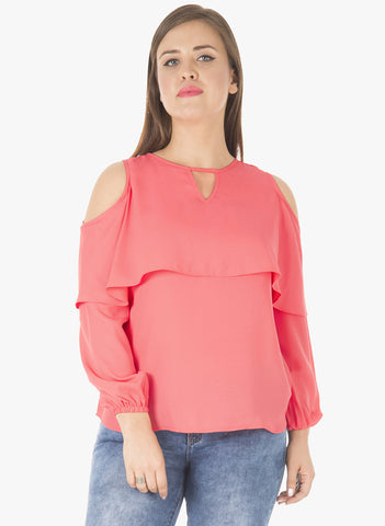 CURVE Layered Cold Shoulder Top - Coral
