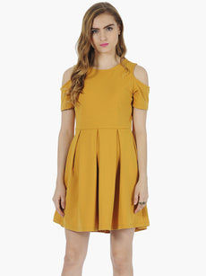 Mustard Cold Shoulder Skater Dress