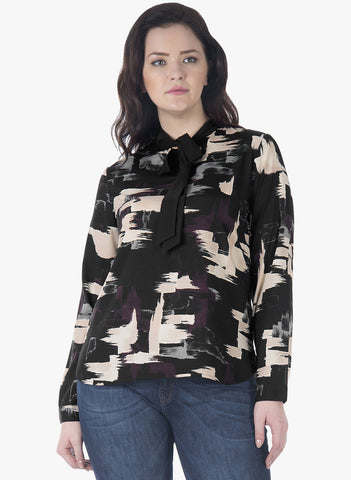 CURVE Abstract Pussy Bow Blouse - VS FASHIONS