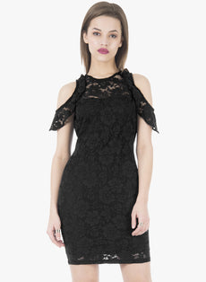 Drop Shoulder Lace Bodycon Dress - Black