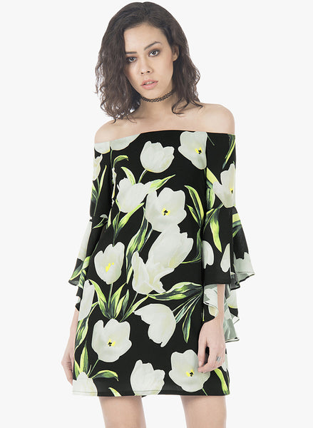 Flutter Sleeve Dress - Black Floral