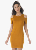 BASICS Cold Shoulder Bodycon Dress - Mustard - VS FASHIONS