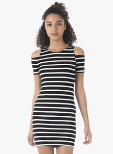 BASICS Cold Shoulder Bodycon Dress - Stripes