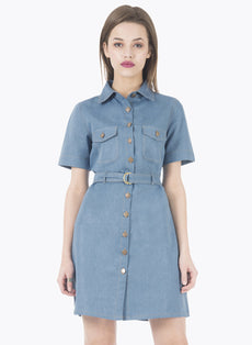Belted Denim Shirt Dress - Light Wash