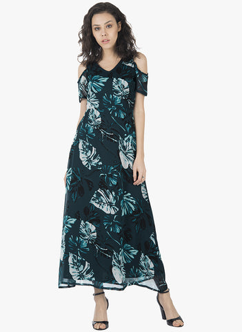Teal Floral Cold Shoulder Maxi Dress