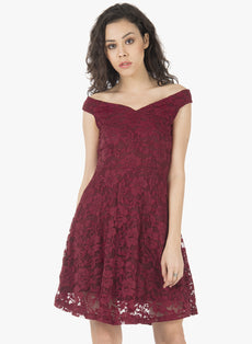 Off Shoulder Lace Skater Dress - Oxblood