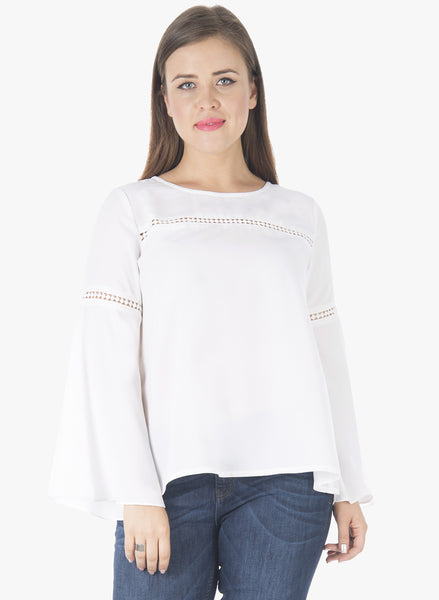 CURVE Lace Insert Bell Sleeve Blouse - White