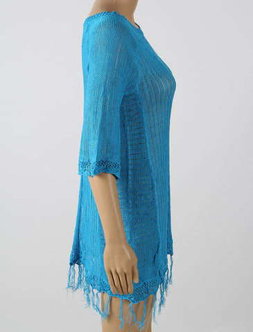 Blue Loose Knitting Cover Up - VS FASHIONS
