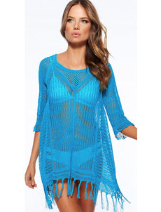 Blue Loose Knitting Cover Up