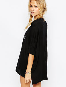 Round Neck Comfortable Black Beach Dress