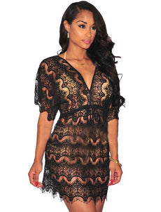 Hollow out lace sexy beach dress