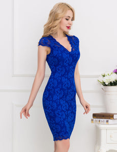 Slim Elegant Blue Half Sleeve Fashion Dress