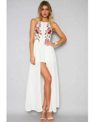 Elegant White Embroidery Backless Long Dress - VS FASHIONS
