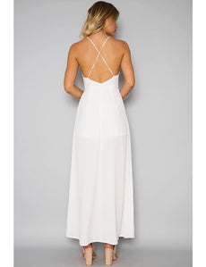 Elegant White Embroidery Backless Long Dress