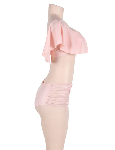 High Waist Swimwear Pink Off Shoulder Bikini