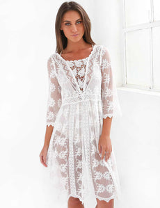 Bohemian White Sheer Beach Cover Dress