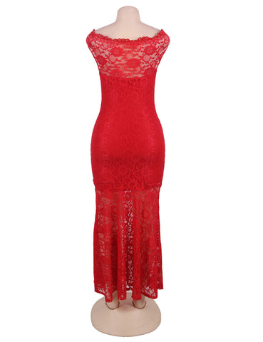Red Lace Elegant Party Gown Maxi Dress