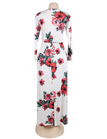 Pocket Design Long Sleeve White Floral Maxi Dress
