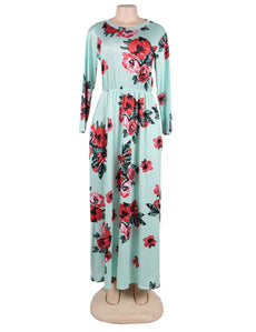 Plus Size Pocket Design Long Sleeve Green Floral Maxi Dress