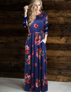 Plus Size Pocket Design Long Sleeve Dark Blue Floral Maxi Dress