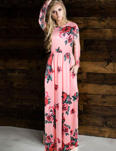 Pocket Design Long Sleeve Pink Floral Maxi Dress