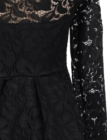 Plus Size Off Shoulder Black Lace Long Sleeve Dress VS Fashions