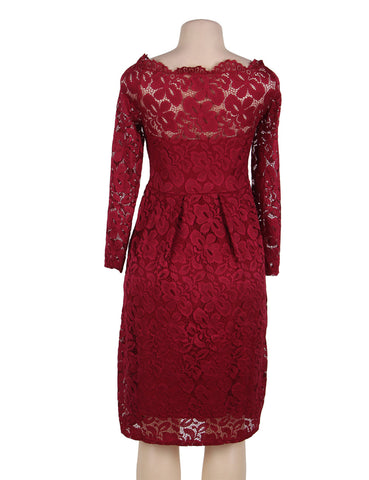 Plus Size Off Shoulder Red Lace Long Sleeve Dress