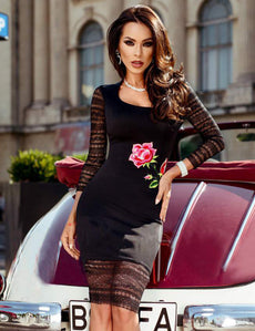 Floral Embroidery Black Lace Bodycon Dress